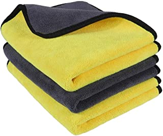 OAN Microfiber Car Cleaning Cloth for Detailing & Polishing 800 GSM, 45 cm x 45 cm (Pack of 3) (Random Color)