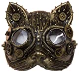 Costume Accessory - Antiqued Plastic Steampunk Cat Mask w/ Built in Goggles