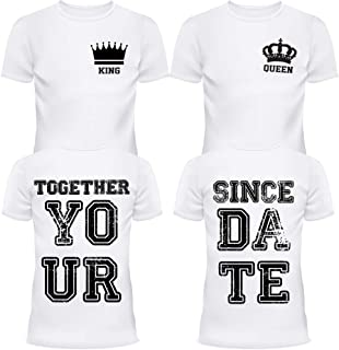 King and Queen Together Since Couples Shirt Custom Matching Tshirts Set T-Shirts Back Front Design 2 Two Sided Gift Lover White