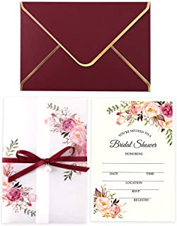 Doris Home 250 GSM 5 x7.3 inch Invitations Cards with Envelopes and Printed Inner Sheets for Bridal Shower CW0016 (Burgundy, 25pcs)