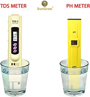 SunGrow Digital pH and TDS Meter Set, Lightweight, Portable and Easy to Read LCD Screen, Highly Accurate Readings, Monitor Hydroponics, Aquarium, Tap Water and Pool Water, Batteries Included