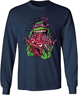 RIVEBELLA New Graphic Shirt Turtles Novelty Tee Eating Krang Men's Long Sleeve T-Shirt