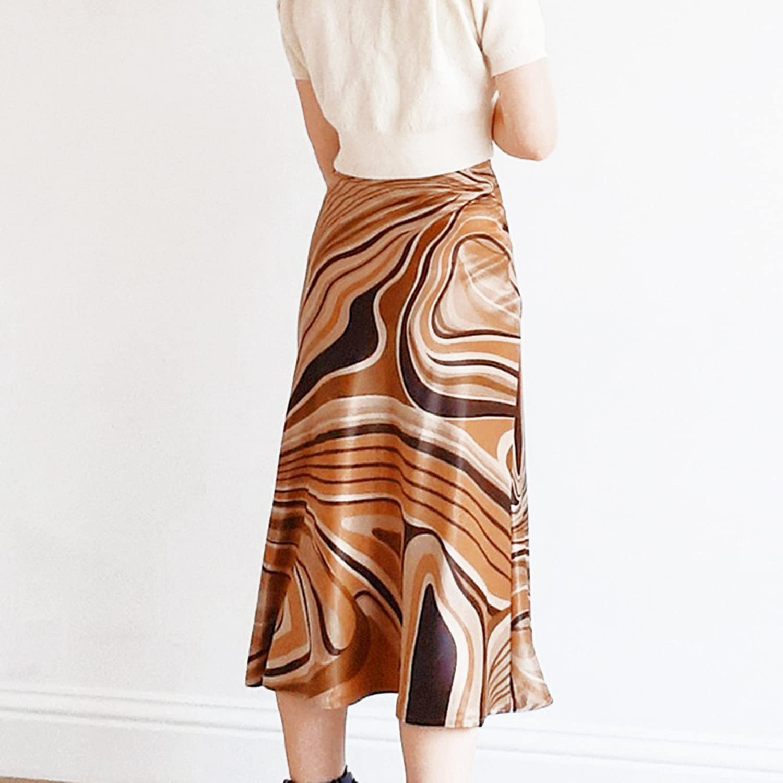 Hrsptudorc Casual Printed Midi Skirt Women Brown A-Line High Waist Elegant Skirts Ladies Summer Vintage Fashion Streetwear M