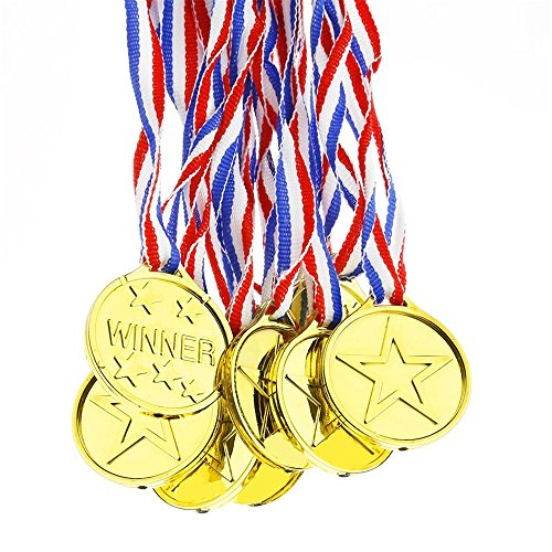 Upper Juego de 12 medallas de plástico, para ganadores de Oro olímpico, premios de Juguete, Regalos para niños y Fiestas