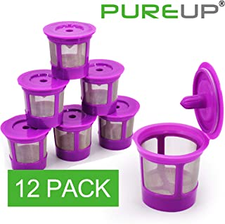 PUREUP 12 Pack Reusable K Cups Compatible with Keurig K-Classic, K-Elite, K-Select, K-Cafe, K-Compact, K200, K300, K400, K500 Family 2.0 and Classic 1.0 Coffee Filter Replacement