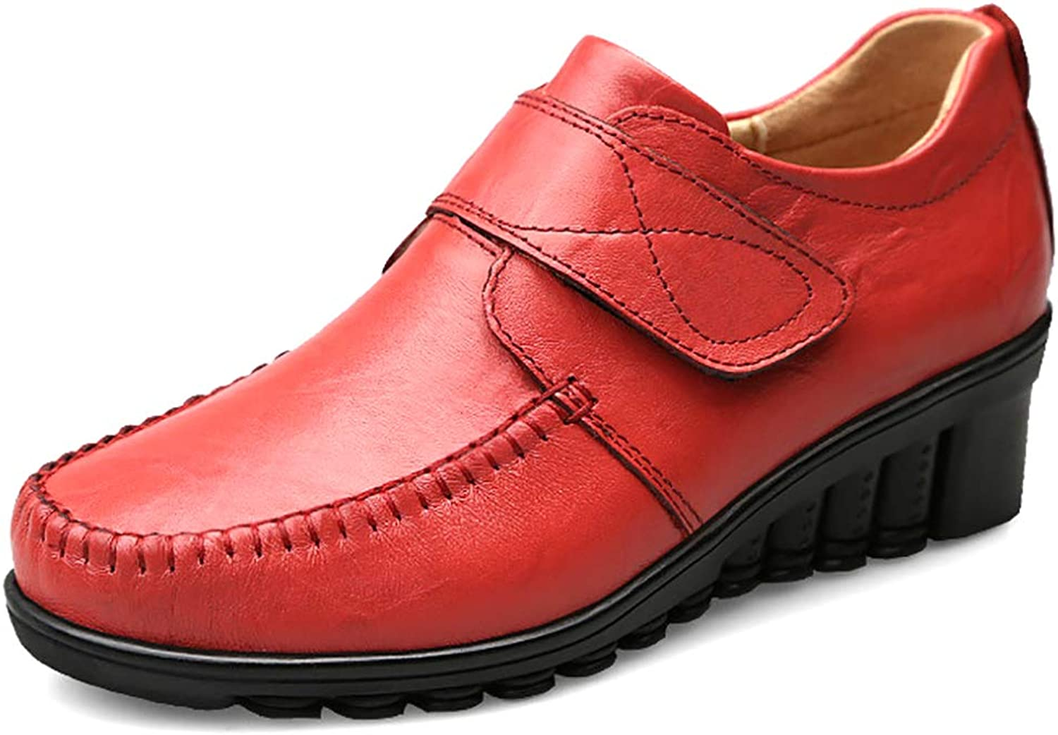 Odema Women's Comfort Genuine Leather Oxford Buckled Lace-up Loafers Wedges shoes