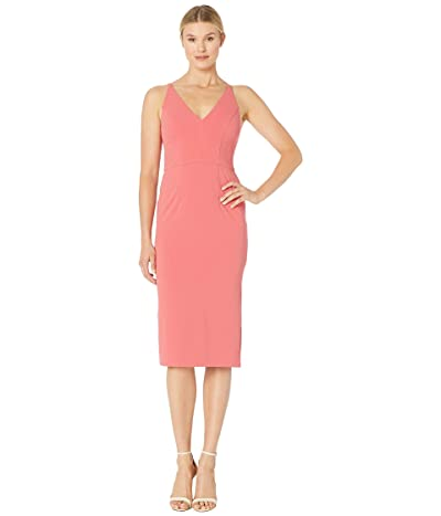 Donna Morgan Deep V-Neck Crepe Sheath Dress (Terracotta) Women