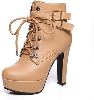 Ladies Bandage Platform Chunky Heels Buckle Imitated Leather Boots