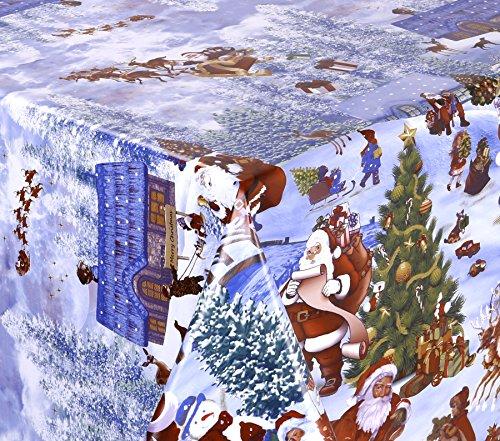 WACHSTUCH Tischdecken abwischbar Meterware, Größe wählbar, 100x140 cm, Glatt Weihnachten Schnee