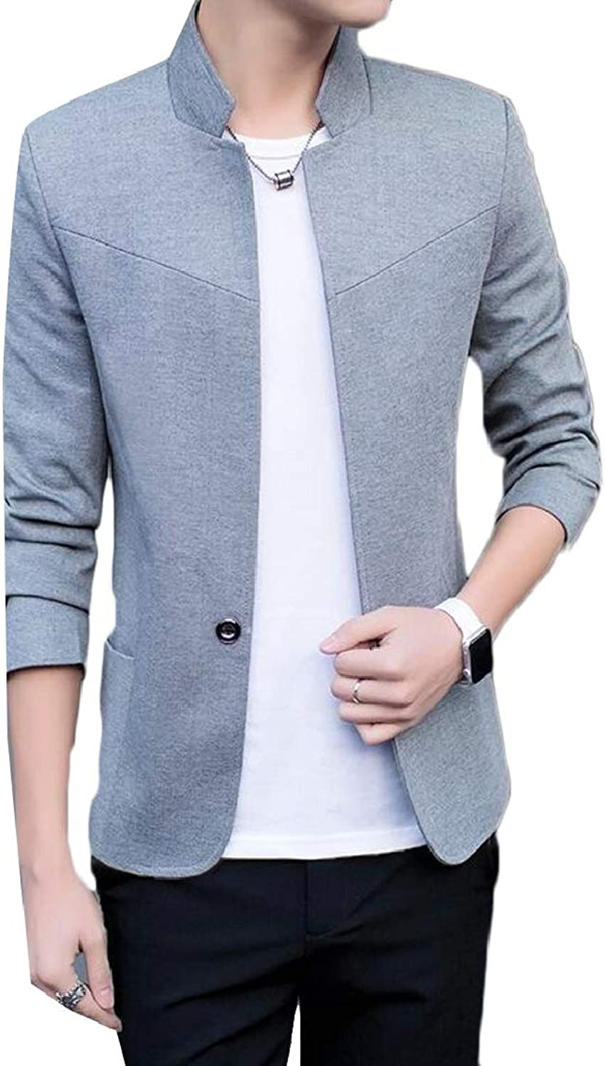 06d44cc532 QD-CACA Mens Stand Stand Stand Collar One Button Slim Fit Casual Blazer  Coat 4d7332