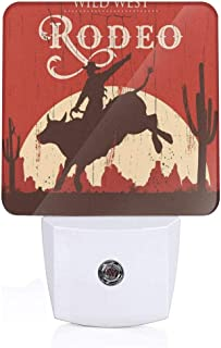 Rodeo Cowboy Riding Bull Wooden Old Sign Western Style Wilderness at Sunset Image Plug-in LED Night Light Lamp with Dusk to Dawn Sensor, Night Home Decor Bed Lamp
