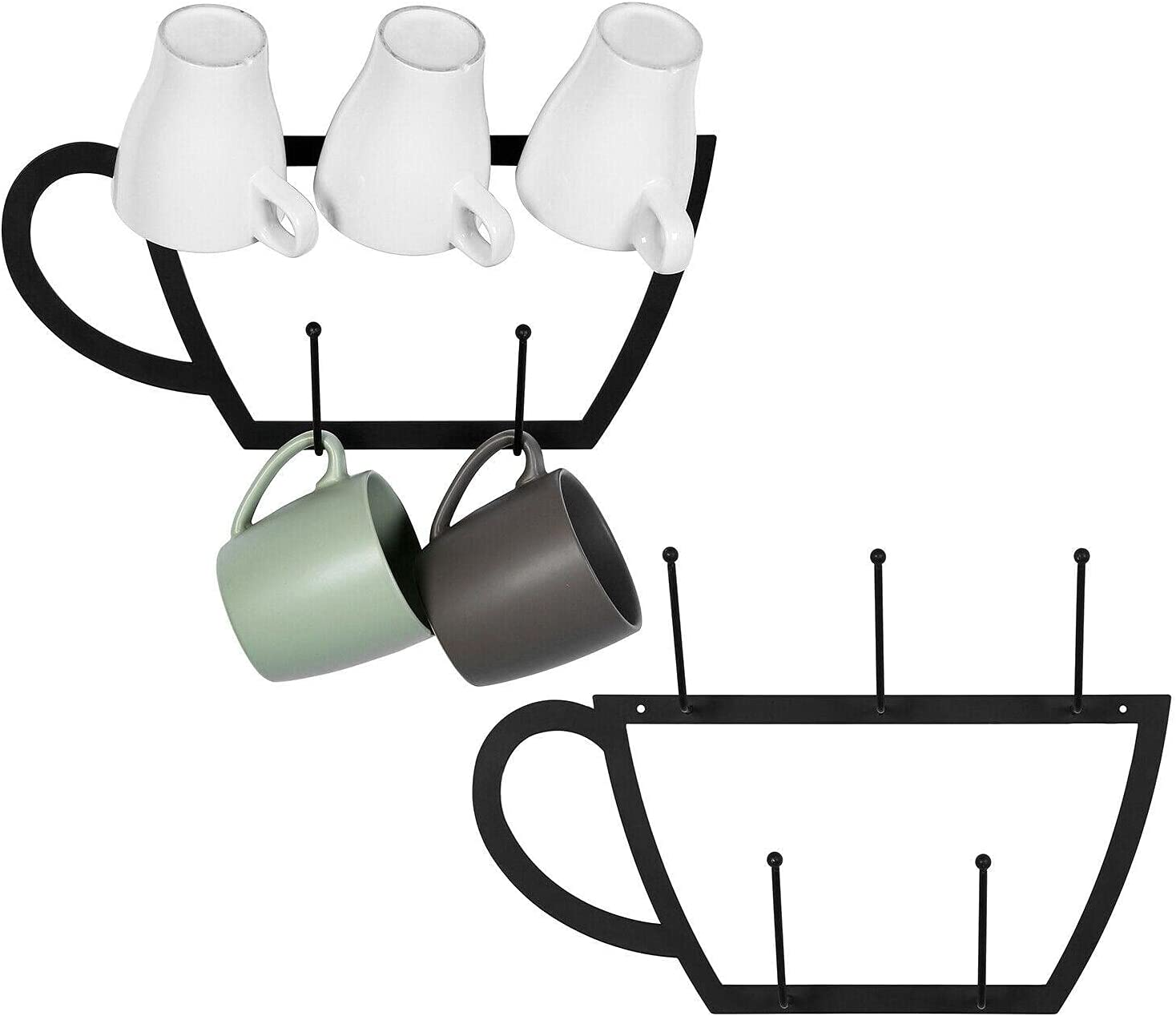Wall Mounted 5-Hook Black Metal Cup-Shaped Coffee Storage Super beauty product restock quality top Ra Mug Max 67% OFF