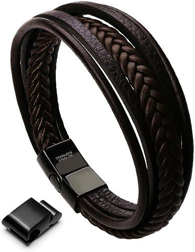murtoo Homme Cuir Véritable Bracelet et Acier Inoxydable Bracelet Multi Tissé Réglable Noir ou Marron Cuir Bracelet p...