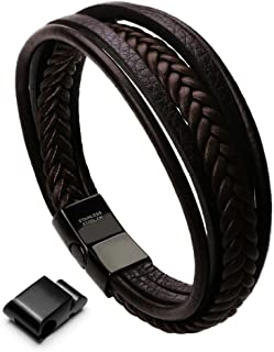 murtoo Leather Bracelet Magnetic-Clasp Cowhide Braided...