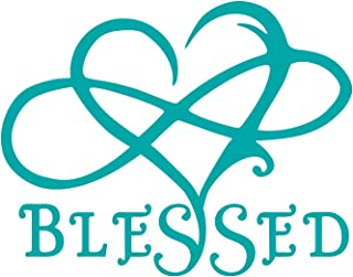 UR Impressions Teal 7in. Blessed Infinite Love Heart Decal Vinyl Sticker Graphics for Cars Trucks SUV Vans Walls Windows Laptop|Teal|7 X 5.5 Inch|URI695-T