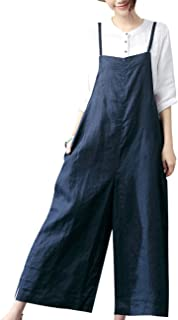 YESNO Women Casual Linen Cropped Bib Pants Wide Leg Jumpsuits Rompers Overalls/w Pockets PZZ - Blue - XXX-Large