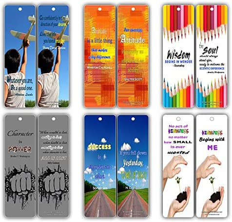 Smart Quotes About Wisdom Attitude Character Success Kindness Future Bookmarks 60 Pack for Kids product image
