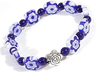 """Little Bluebell"", Dark Blue Stretch Bracelet with Millefiori Beads in Flower Design"