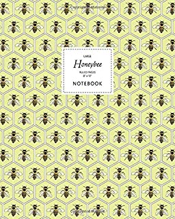 Honeybee Notebook - Ruled Pages - 8x10 - Large: (Yellow Edition) Fun notebook 192 ruled/lined pages (8x10 inches / 20.3x25...