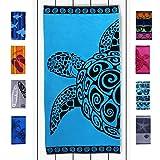 DecoKing 20470 Strandtuch 90x180 cm Baumwolle Frottee Velours Badetuch Duschtuch türkis azurblau schwarz Turtle