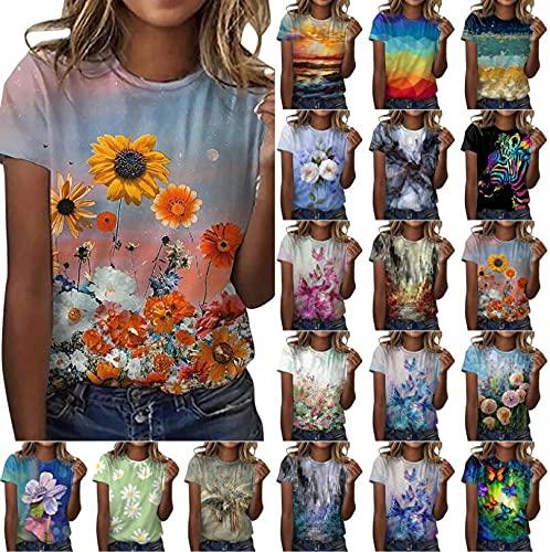Camiseta para mujer y adolescente, elegante, verano, manga corta, color blanco, cuello redondo, parte superior grande, vintage, estampado floral, sexy, multicolor, estampado 3D, básico, blusa, azul, S