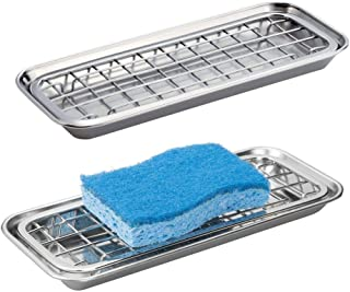 mDesign Metal 2-Piece Sink Tray Caddy for Kitchen Countertops - Removable Grid Insert for Sponges, Scrubbers, Bar Soap, Cleaning Tools - Drainage Grid with Tray - 2 Pack - Polished Stainless Steel