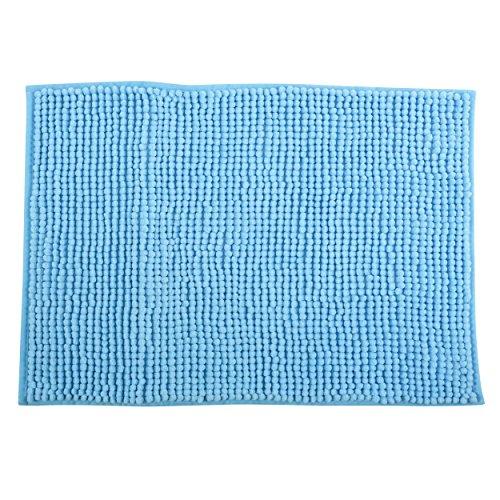 MSV Badteppich Badvorleger Duschvorleger Chenille Hochflor Badematte 40x60 cm – Hellblau