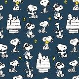 Jersey Stoff The Peanuts Snoopy Indigo Blau - 150cm breit -