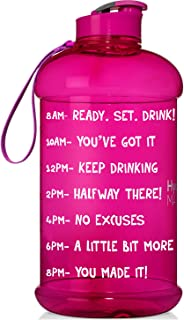QuiFit 1 Gallon Water Bottle with Motivational Time Marker BPA Free Reusable Jug