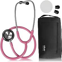 Vive Precision Dualhead Stethoscope - Dual Head Diaphragm Bell for Nurses, ER, Cardiology, Veterinary, Fetal Pediatrics Blood Pressure Kit - Double Barrel Chestpiece Device for Doctors, Students