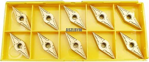 """high quality ASZLBTYM 10PCS VNMG331/ VNMG160404 CNC Lahe lowest Indexable Carbide Turning Insert online Cutting Blade for VNMG Turning Tool Holder, Multilayer Coated, 3/16"""" Thick, 1/64"""" Radius (Yellow, VNMG331) online"""