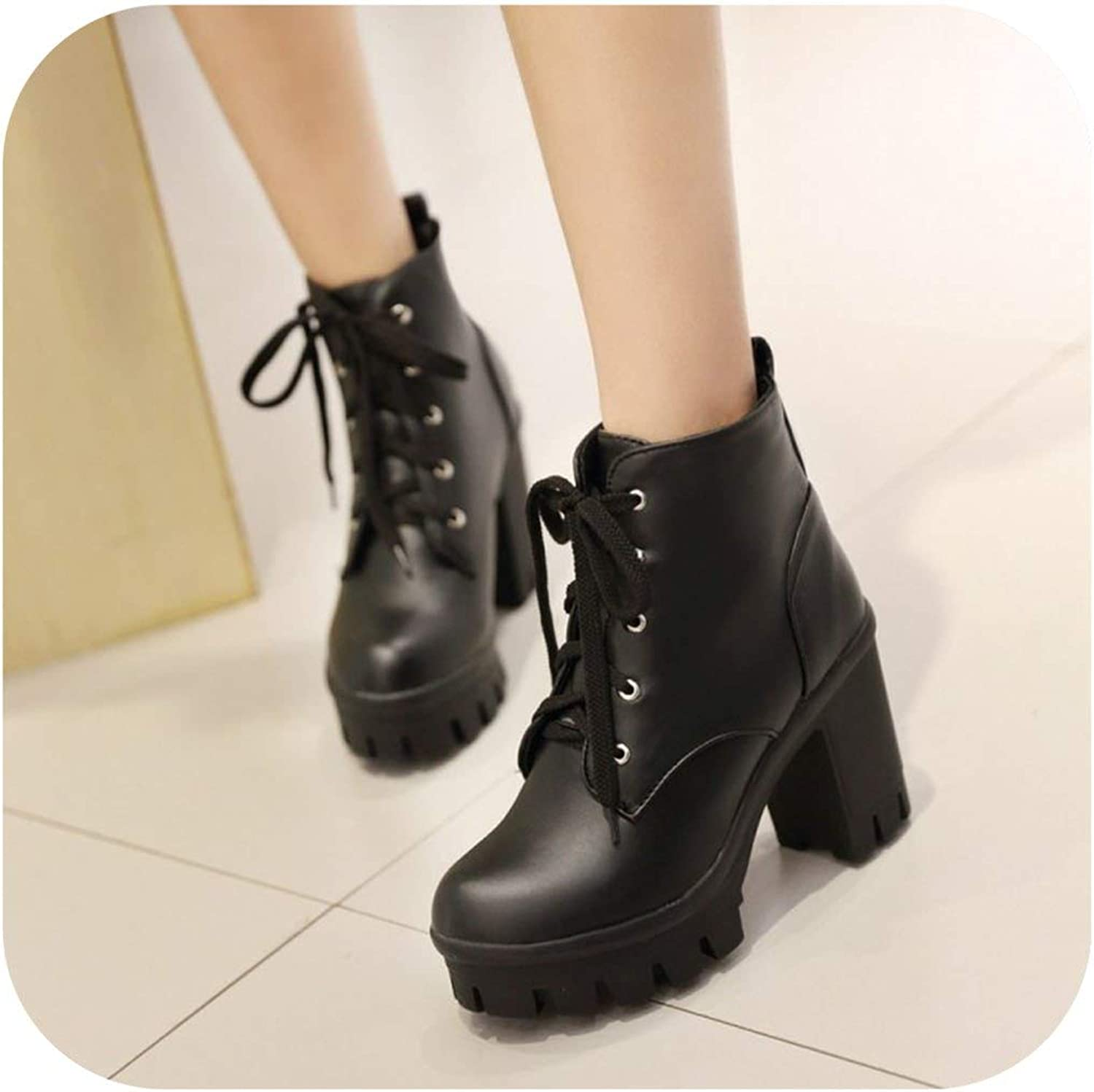 Women Warm New Ankle Motorcycle Boot Black Pink Beige High-Heels shoes