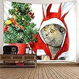 KnBoB Tapiz Pared Decorativo Árbol de Navidad de Gato 300 x 260 CM Tejido Poliéster Anti Arruga Decoracion Habitacion