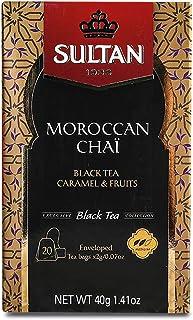 SULTAN TEA Marokkanischer Chai, Schwarztee Karamell und Früchte Kräuter Schwarztees Packung mit 8 - 160 Teebeuteln