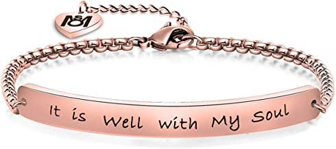 MYOSPARK It is Well with My Soul Hand Stamped Bracelet Scripture Bracelet for Her