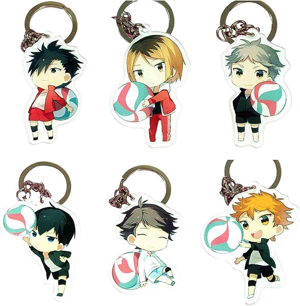 Iutoyye Anime Schlüsselanhänger Figur Cosplay Schultascheanhänger Keychains Anhänger Schlüsselring Schlüsselhalter 6 Stück Bekleidung