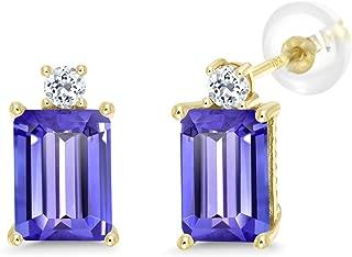 10K Yellow Gold Earrings 3.96 Ct Emerald Cut Blue Tanzanite White Topaz