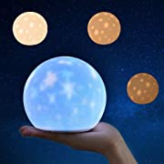 Night Light for Kids Starry Sky Projector Silicone Bedside Lamp for Breastfeeding, ABS+SIL, Touch Control, Portable and Rechargeable Dimmable, Birthday Xmas Gifts for Boys Girls