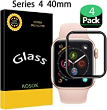 [4-Pack] Apple Watch Serie 4 40MM Screen Protector, AOSOK [Tempered Glass] [Black Series] [9H Hardness] [Anti-Scratches] Full Coverage Screen Protector Compatible Watch Serie 4 40MM (4Pack)