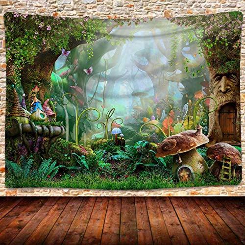 Tapiz De Bosque De Hongos De Fantasía, Tela para Colgar En La Pared De Fondo De Llamada Colorida, Pintura De Pared De Tela para Decoración De Dormitorio