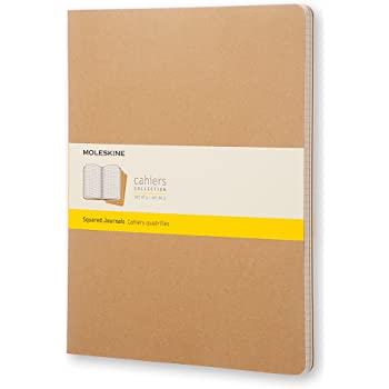 "Moleskine Cahier Journal, Soft Cover, XXL (8.5"" x 11"") Squared/Grid, Kraft Brown, 120 Pages (Set of 3)"