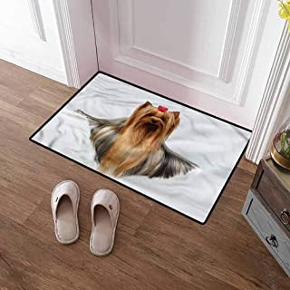 SCOCICI1588 Bath Mat Yorkie, Groomed Hair Adorable Commercial Grade Rubber Floor Mat Waterproof, Easy Clean, Dust Trapper, Eco-Friendly 35 x 59 Inch