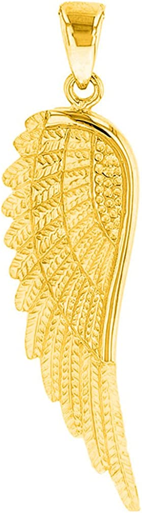 Solid 14k Yellow Gold Textured Angel Wing Charm Pendant