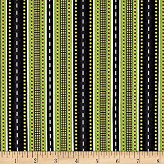 Wilmington Prints Ready for Take Off Stripe Black Fabric by The Yard