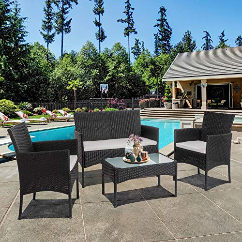 SUNLEI 4 Piece Rattan Patio Furniture Set, Garden Lawn Pool Backyard Outdoor Sofa Wicker Conversation Set with Glass Coffee Table, Loveseat & 2 Cushioned Chairs(Black)