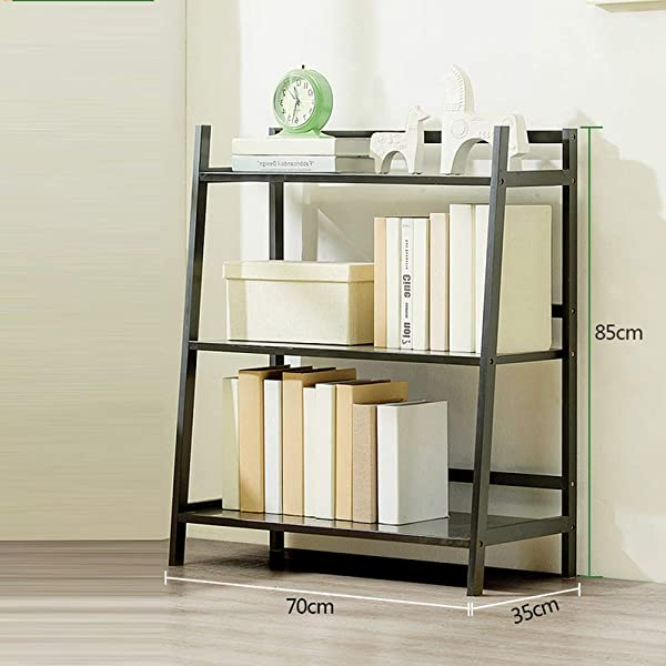 Shelves MEIDUO Bookshelf Free Standing Ladder Shelf Rack Storage Display For Leaning Home Office Flower Shelf Color Black Size 3 Tier
