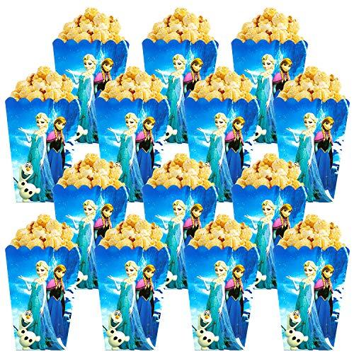 Qemsele Scatole di Popcorn, 30 Pezzi Cartone Animato Scatole di Carta per Regalo per Feste di Compleanno, Serate di Cinema, Carnevale, teatro e Feste (Frozen)