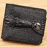 ZLDDE Billetera Cartera de Hombres de Cuero Genuino Billetera Corta Cartera de Hombres Estilo Retro Billetera de Cuero de cocodrilo Regalo (Color : Black)