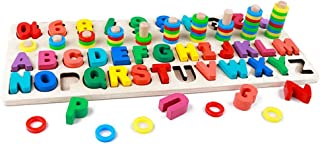 GETIANLAI 4-in-1 Wooden Blocks Puzzle Board Set Alphabet ABC, Numbers and�Letters for Toddlers Preschool Teaching Early Education Toy