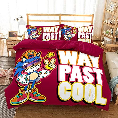S-onic - Juego de cama individual, tamaño doble, 3 piezas de personajes clásicos S-onic con 2 fundas de almohada 3D para dormitorio